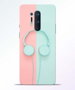 Blue Pink Headphone Oneplus 8 Pro Back Cover