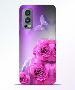 Pink Roses Butterfly Oneplus Nord 2 Back Cover
